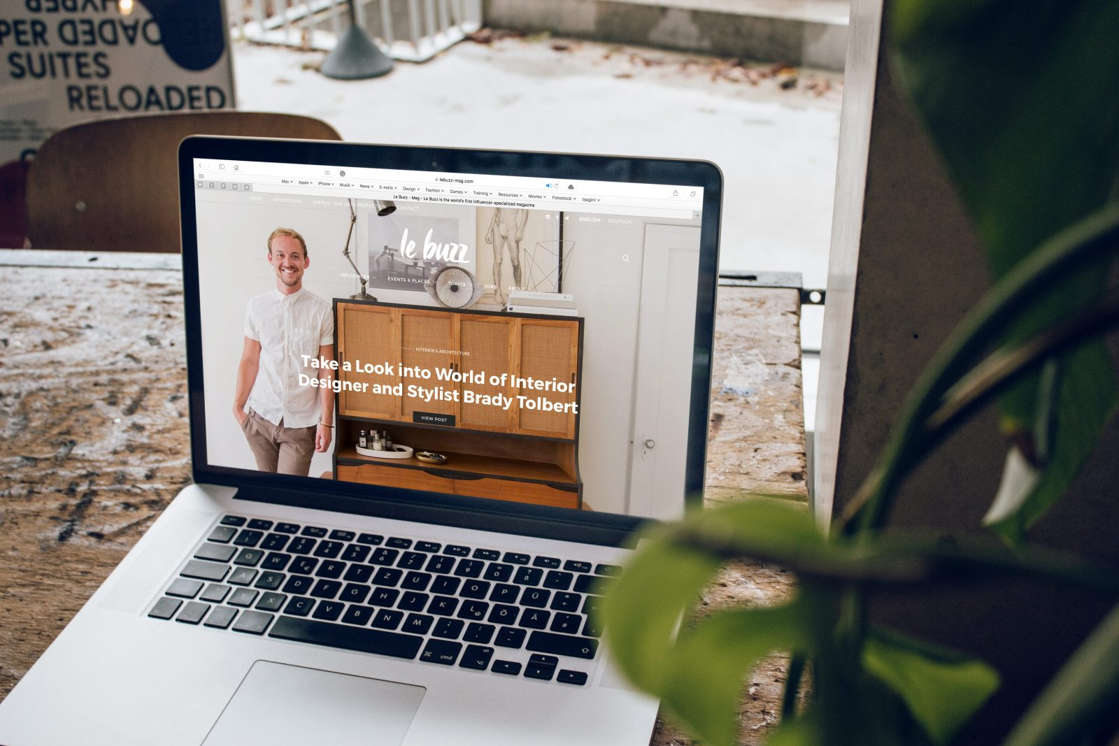 A laptop screen showing the homepage of an online shop
