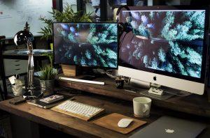 Two mac screens side by side